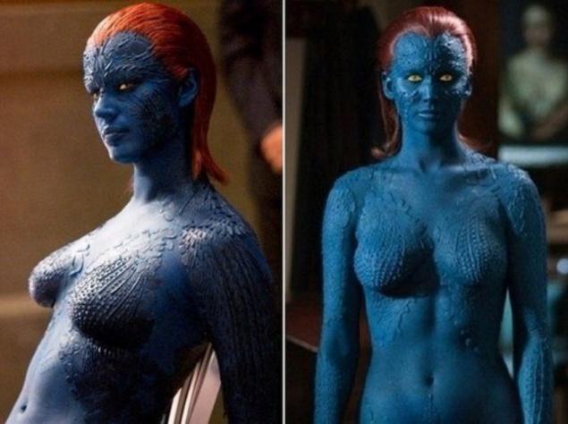 Дженнифер Лоуренс (Reba Romijn) и Ревекка Ромейн (Reba Romijn) для функции Mystique в кинофильме