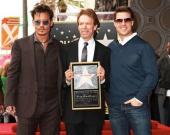 Джонни Депп и Том Круз на голливудской Аллее славы