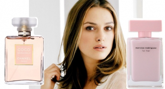 Киры Найтли: Coco Mademoiselle Chanel, Narciso Rodriguez for Her.