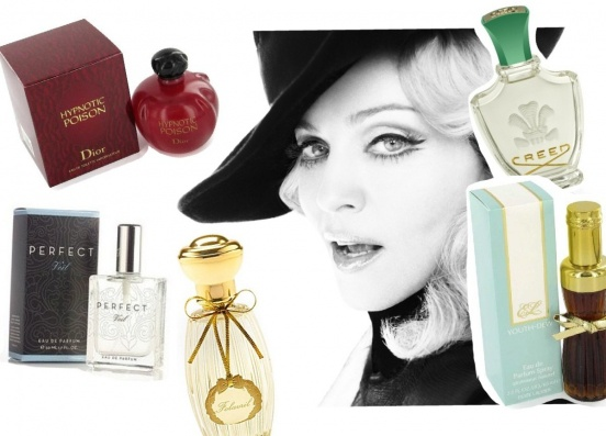 Мадонны: Hypnotic Poison Christian Dior, Fleurissimo Creed, Perfect Veil Creative Scentualization, Folavril Annick Goutal, Youth-Dew Estee Lauder.