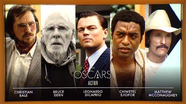 """В номинации """"лучшая мужская роль"""" представлены Кристиан Бейл, Брюс Дерн, Леонардо ДиКаприо, Мэттью МакКонахи и Чиветел Эджиофор."""