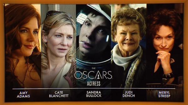 """В номинации """"лучшая женская роль"""" соперницами будут Эми Адамс, Кейт Бланшетт, Сандра Баллок, Джуди Денч и Мэрил Стрип."""