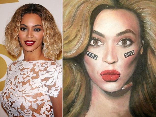 Художница рисует знаменитостей косметикой