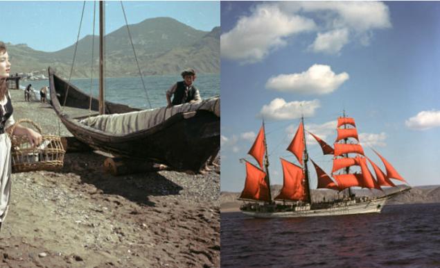 """Фильм """"Алые паруса"""" был снят в 1961-м году по одноименной повести Александра Грина. Режиссер - Александр Птушко. Съемки проходили преимущественно в Алупке, Коктебеле и Ялте."""
