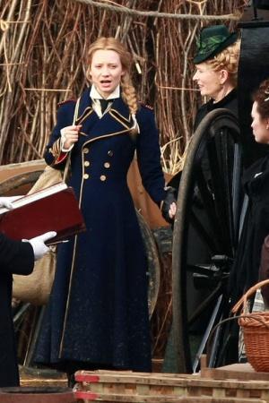 Миа Васиковска на съемках фильма