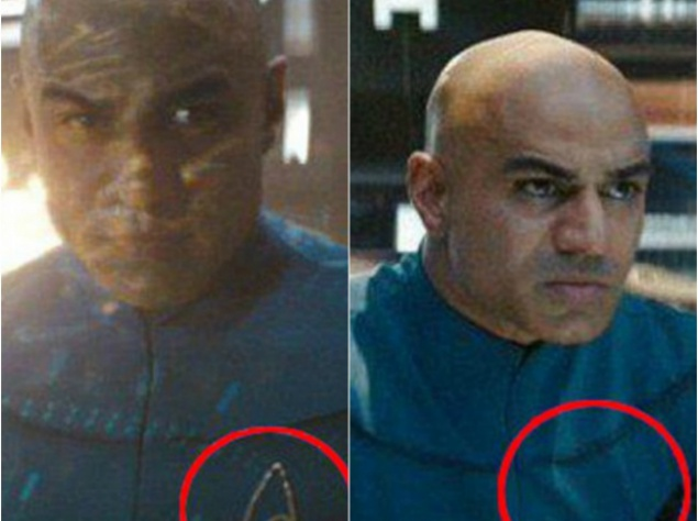 """""""Звездный путь"""". Значок Звездного флота на форме Капитана Робау куда-то исчезает, когда он садится"""