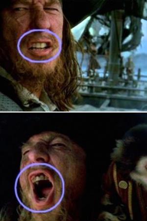 """В части """"Пираты Карибского моря: Проклятие Черной жемчужины"""" зубы капитана Гектора Барбоссы явно портятся слишком быстро"""