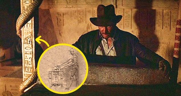 Индиана Джонс: В поисках утраченного ковчега. На стенах древнего храма можно заметить иероглифы в виде роботов из