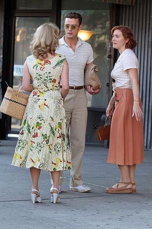 Джастин Тимберлейк и Кейт Уинслет на съемках проекта Вуди Аллена
