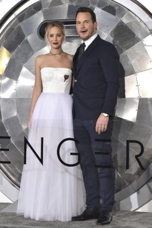 Дженнифер Лоуренс и Крис Прэтт на премьере