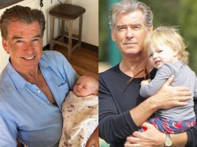 Британский 65-летний культовый киноактёр Пирс Броснан стал дедушкой в 44 года, когда его приёмная дочь Шарлотта родила в 1998 году свою малышку-первенца Изабеллу. К сожалению, Шарлотта скончалась от рака яичников в 2013 через 8 лет после того, как родила своего второго ребёнка, Лукаса, в 2005 году. Подобная участь постигла и мать Шарлотты, возлюбленную Пирса Броснана Кассандру Харрис, умершую в 1991.